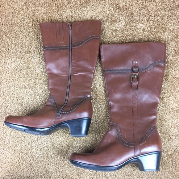 beeaf09c2824 Clarks Shoes -  Clarks  Ingalls Vicky2 Wide Calf Tall Brown Boots